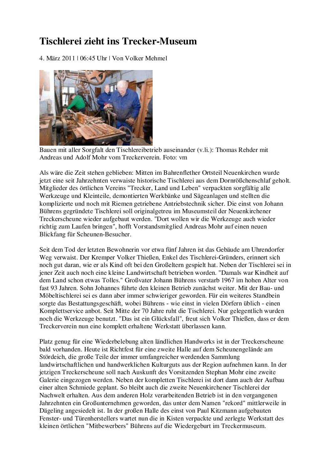 thumbnail of Tischlerei zieht in die Treckerscheune